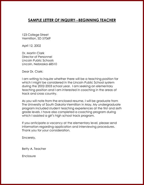 Business Letter Letter Of Inquiry inquiry business letter sle
