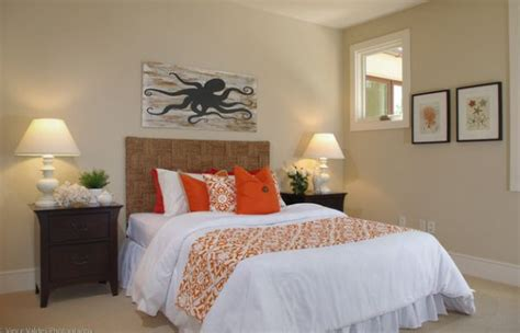 orange accents for bedroom accent couch and pillow ideas for a cool contemporary home
