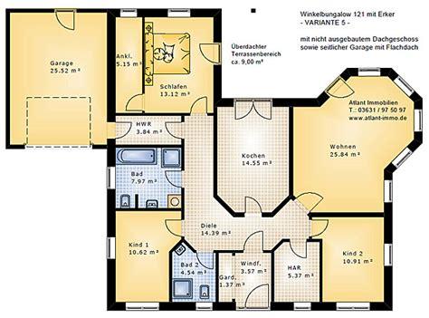 Winkelbungalow Grundriss 5 Zimmer by Winkelbungalow 121 Var 5 Mit Erker Und Garage