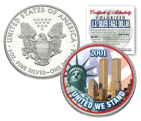 1 Oz Silver One Dollar 2001 by World Trade Center 9 11 American Silver Eagle Dollar 1 Oz