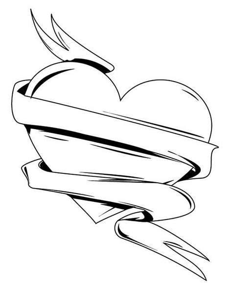 Ribbon And Dagger Tattoo Coloring Pages Ribbon Coloring Pages
