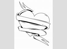 Ribbon And Dagger Tattoo Coloring Pages Easy Drawings Of Hearts With Ribbons