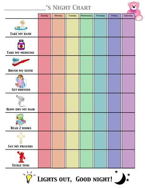 printable toddler sleep chart night time routine chart toddler night chart to promote