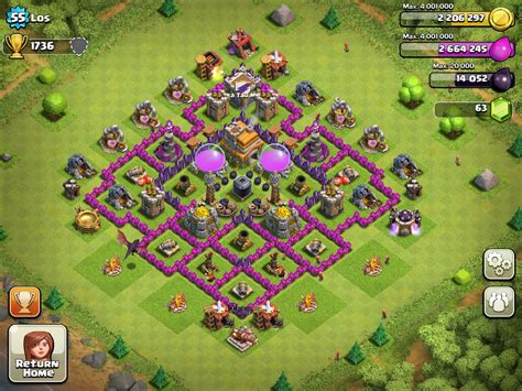 defense layout in coc top 10 clash of clans town hall level 7 defense base design