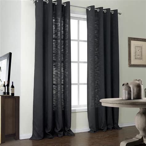 Darkening Drapes Simple Home Modern Black Window Curtains Of 2 Panels