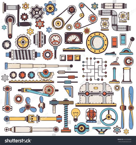 Doodle Parts Machinery Mechanisms Color Handmade Stock