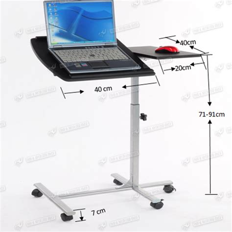Mobile Laptop Desk Stand Height Adjustable Mobile Computer Desk Laptop Tray Table Stand Wheel Removable Ebay