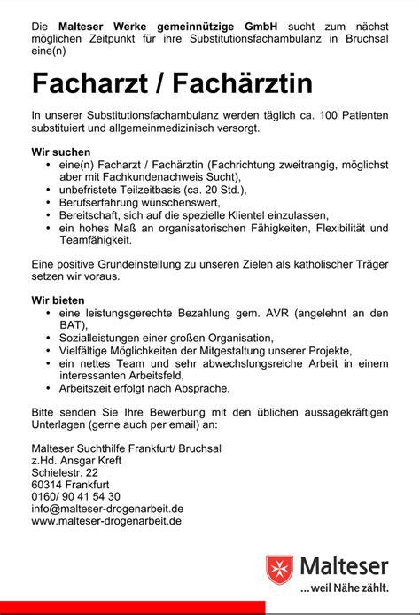 Bewerbung Facharzt Beispiel Stellenangebot Facharzt F 252 R Substitutionsambulanz In Bruchsal