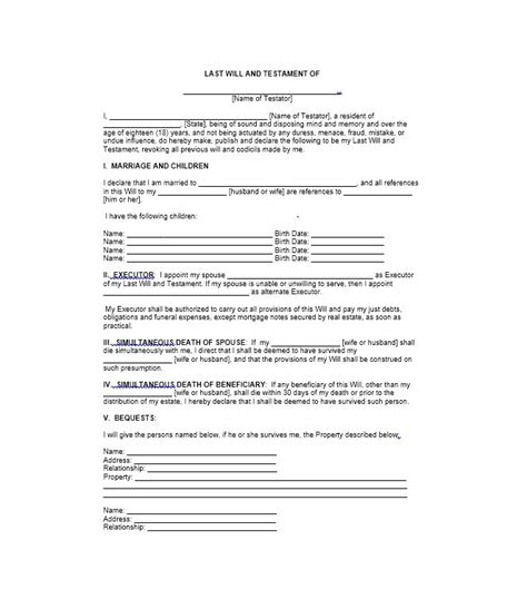 sle of a last will and testament template last will and testament form teacheng us