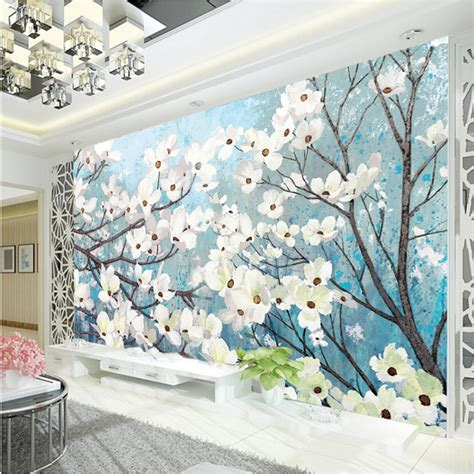 elegant  wallpaper magnolia wall murals custom oil