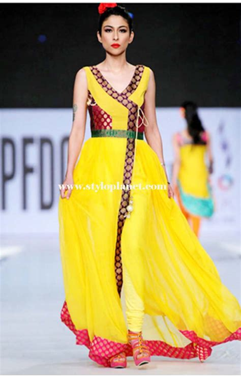 desain of dress angrakha style formal wear frocks collection stylo planet