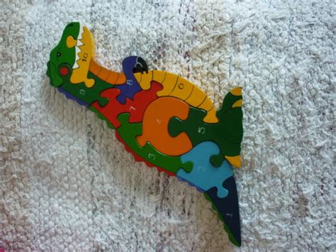 wooden handmade jigsaw puzzle t rex for sale in
