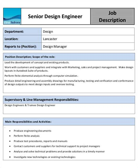 design engineer job description pdf 10 engineer job description templates pdf doc free