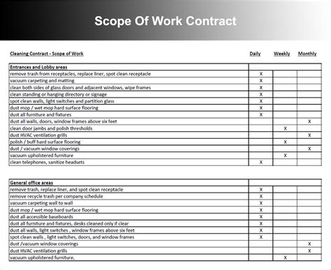 scope of work template word scope of work templates free word pdf document
