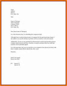 Resign Letter Model by 7 Sle Resign Letter One Month Notice Graphic Resume
