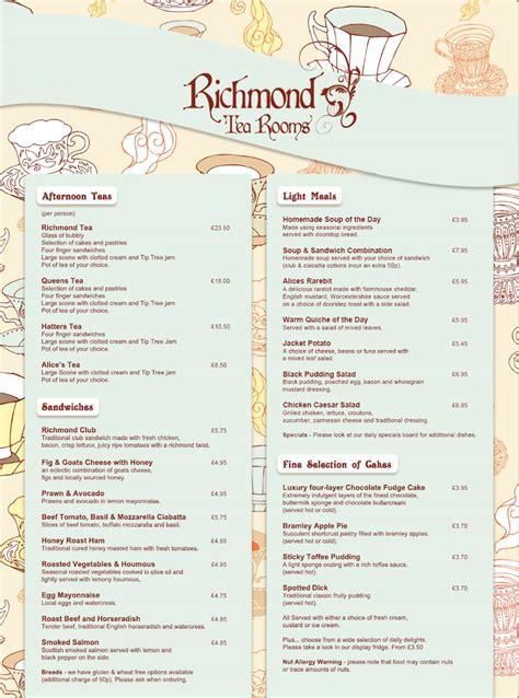 richmond tea rooms menu 1 of 2 price lists menus the richmond tea rooms manchester tearoom