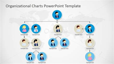 organizational tree template powerpoint orgchart tree structure four levels slidemodel