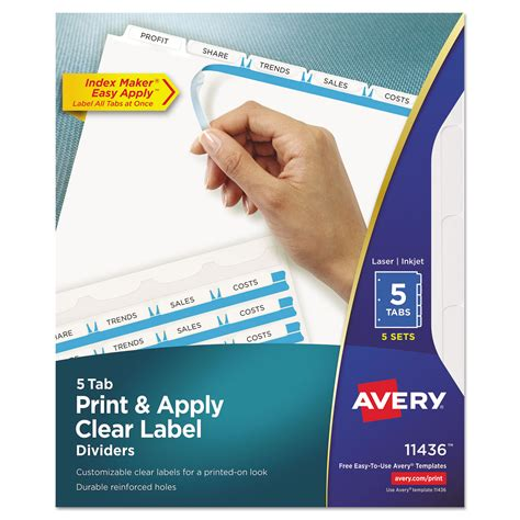 Avery 5 Tab Divider Label Template