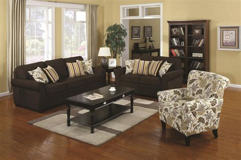 sofa and accent chair set coaster rosalie 902082 brown fabric accent chair steal a