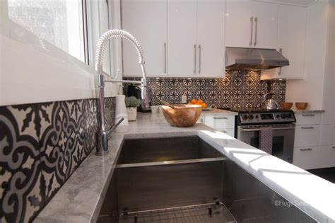 Mission Style Wall Sconces Cement Tiles Backsplash Contemporary Kitchen