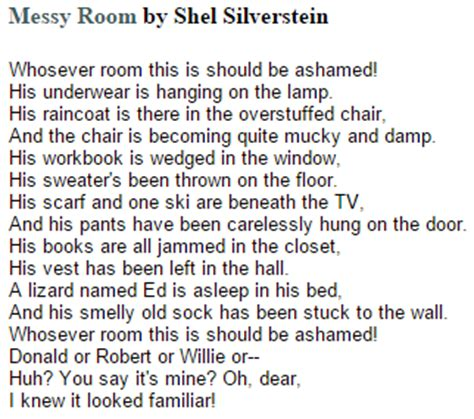 messy room by shel silverstein famous funny poem 12th grade ap literature and composition poetry reaction