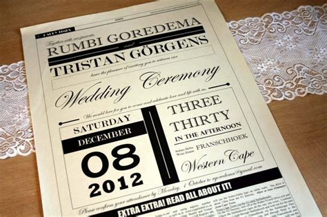 newspaper themed wedding invitation pin by heather donahoe on dearly beloved pinterest