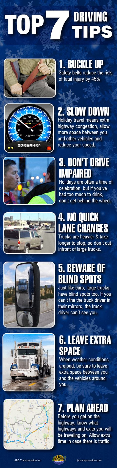 7 Tips For Being A Safe Driver On The Road by Top 7 Driving Tips For 2015 Jrc Transportation