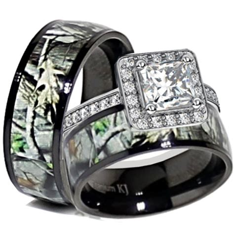 cheap sterling silver camo wedding ring set ipunya