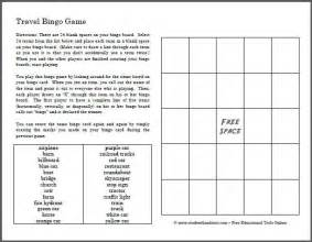 Free printable travel bingo game for kids to play in the car student