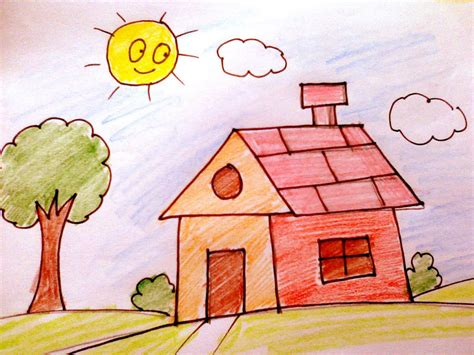 draw my house how to draw a house for kids pencil art drawing