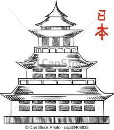 vectors of japanese old pagoda tower sketch traditional