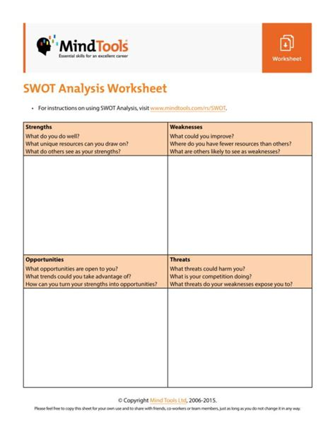 swot analysis worksheet template 11 student swot analysis template pdf word sle