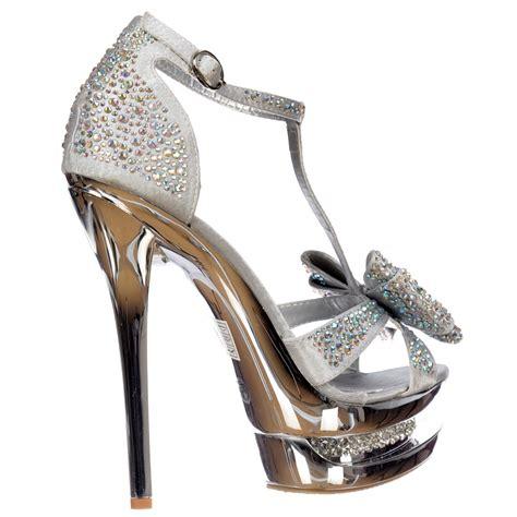 high heels in silver shoekandi diamante jewelled bow high heel