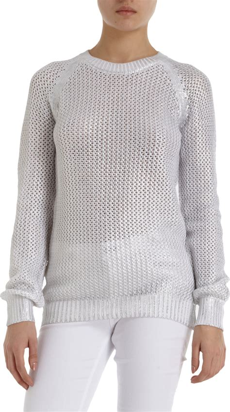 white open knit sweater each x other metallic coated open knit sweater white in