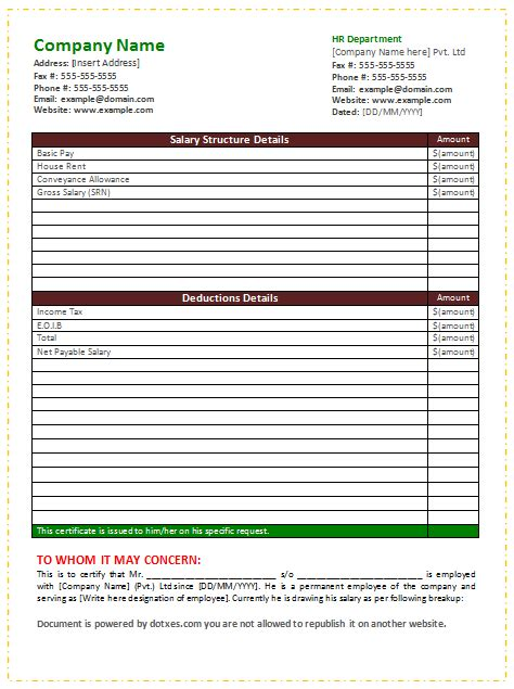 salary certificate template word