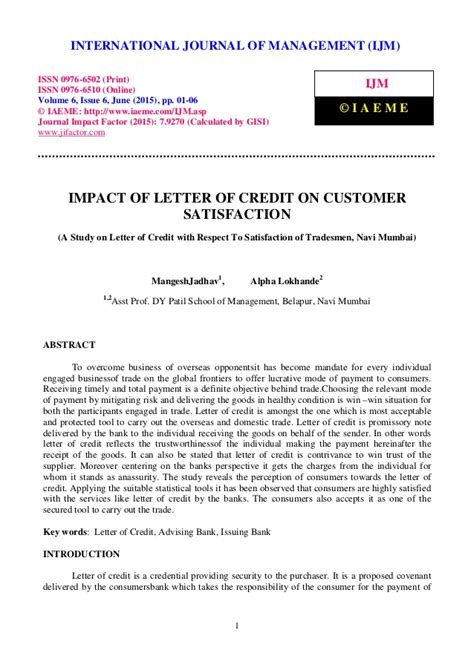 Credit Policy Letter To Customer Impact Of Letter Of Credit On Customer Satisfaction