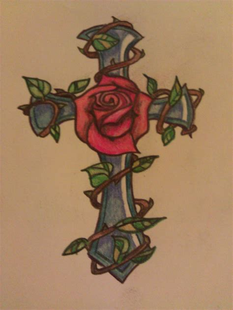 rose with cross tattoo designs cross www imgkid the image kid has it