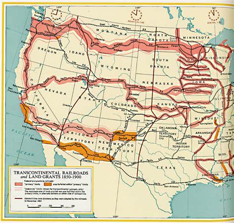 land grants map transcontinental railroads and land grants circa 1850 1900