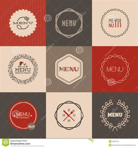 menu design label labels set for restaurant menu design vector