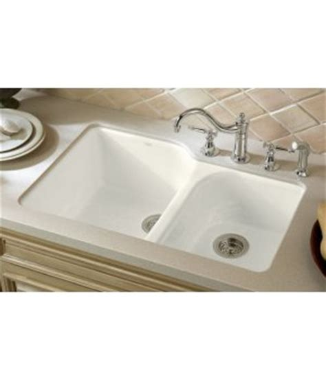 White Undermount Kitchen Sinks Kohler K 5931 4u 0 Executive Chef Cast Iron Bowl Undermount Kitchen Sink White