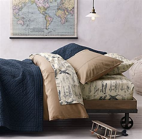 vintage airplane bedding tumble washed twill vintage airplane blueprint bedding collection