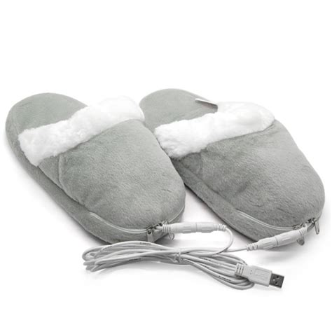 usb foot warmer slippers plush electric usb heating slippers non slip heated shoes