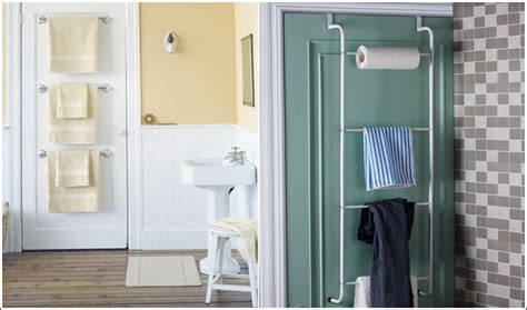 Towel Rack On Back Of Door by 15 Clever Hacks For Bathroom Storage And Organization