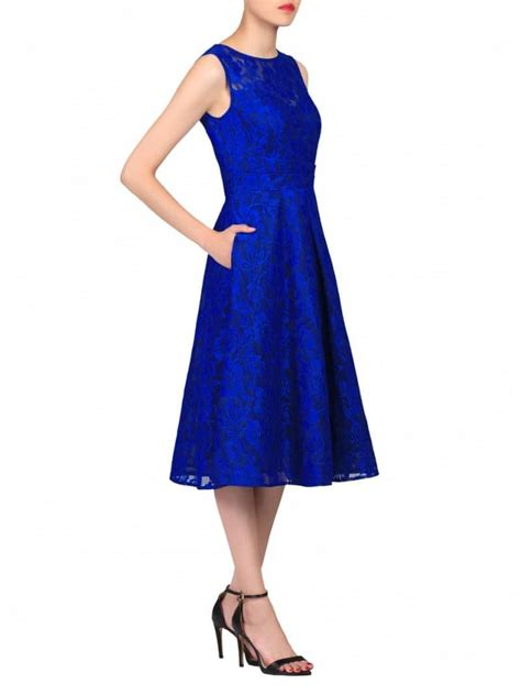 Blue Electric Dress moi electric blue fit and flare lace dress alila