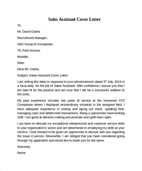 cover letter for a sales assistant sales assistant cover letter