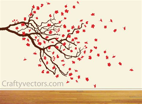 Tree Silhouette Wall Sticker spring cherry blossom and branch svg cut file