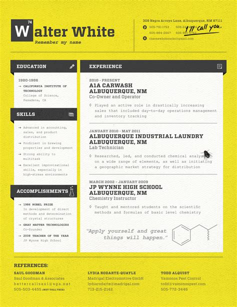 How To Create A Best Resume by Walter White Resume Loft Resumes Blog