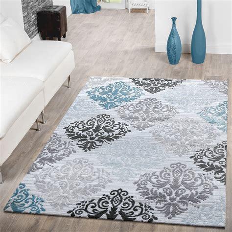 barock teppich teppich modern glitzergarn kurzflor barock design t 252 rkis