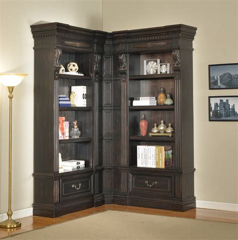 Large Corner Bookcase Furniture Large L Shaped Black Wood Bookcase With Drawers And Shelves Also Metal Ladder Next To