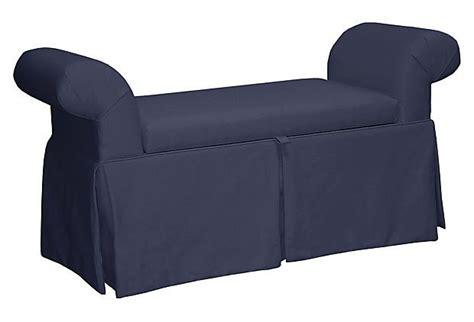 roll arm storage bench mara roll arm storage bench navy on onekingslane com